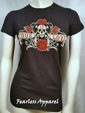 Lucky 13 Pirate Banner True Love Skull Tattoo Goth Punk Rock Rose T Tee Shirt S