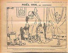 Humour Noël Kaiser Guillaume/Wilhelm II poêle à bois Dessin Manfredini WWI 1916