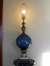 Very Unique Antique Blue Glass Ball Electric Lamp with Bronze Accents