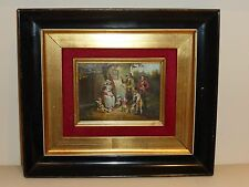 ANTIQUE FAMILY SCENE PAINTING SIGNED BY THE ARTIST