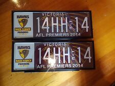 Hawthorn Hawks official 2014 AFL Premiership Vic Roads number plate 14HH14