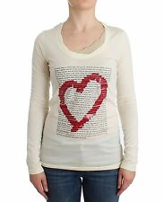 NWT $180 LOVE MOSCHINO White Modal Long Sleeved Top Blouse Jumper IT 42 / US 8