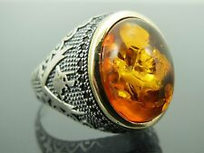 Turkish Handmade Ottoman Style 925 Sterling Silver Amber Stone Men's Ring Sz 10