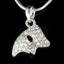 w Swarovski Crystal ~Aurora Borealis Phantom of the Opera~ Mask Necklace Jewelry
