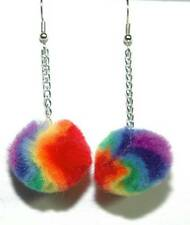 FUN COLORFUL TYE DYE FUZZ BALL DANGLE EARRINGS (D195)