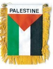 """PALESTINE MINI BANNER FLAG 4 x 6"""" with BRASS STAFF & SUCTION CUP  - NEW"""