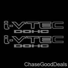 Two (2) Silver HONDA I-VTEC DOHC Car Wall Vinyl Sticker Decal Window