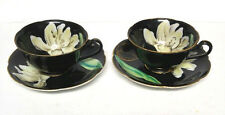 Vintage Princess China Coffee Cup Teacup Saucer Black Floral 4pc Occupied Japan
