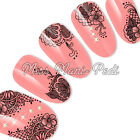 Nail Art Water Transfers Decals Delicate Black Mehndi Henna Style Lace S004B