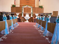 Wedding decor. Chair Bows, Pew Bows, Turquoise,  White, Church Aisle decoration