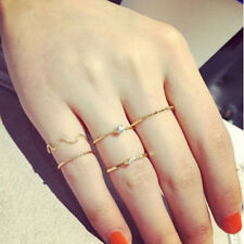 Rings Urban 5Pcs Stack Crystal Cute Above Knuckle Band Midi Ring Set Gold