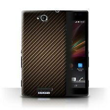 Case/Cover for Sony Xperia C/C2305 / Carbon Fibre Effect/Pattern / Gold