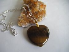 Spiritual Healing Tiger's Eye Heart Necklace Protective Earth Sun Energies Vegan