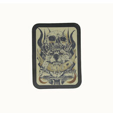 Biker Chopper Evil Wolf Skull Bones Totenkopf Echt Leder Aufnäher Leather Patch