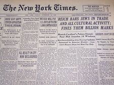 1937 NOV 13 NEW YORK TIMES - REICH BARS JEWS IN TRADE, FINES THEM - NT 731