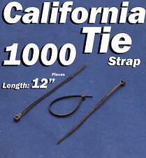 """1000 X pcs Black 12"""" Tie Cord Strap 300mm Network Nylon Plastic Cable Wire Zip"""