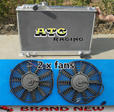 For 86-92 Toyota SUPRA 3.0 Turbo MK3 SOARER 7MGTE MT aluminum radiator & 2 fans
