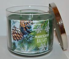 NEW BATH & BODY WORKS MAHOGANY BALSAM SCENTED CANDLE 3 WICK 14.5 OZ LARGE GREEN