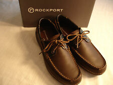 New Mens ROCKPORT SEBERT COCOA Brown Leather Deck Shoes K73052 Adiprene Sz 9.5 M