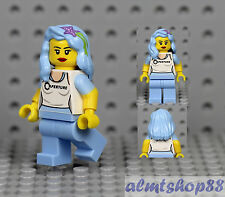 LEGO - Female Minifigure Girl White Tank Top & Light Blue Hair w/ Starfish