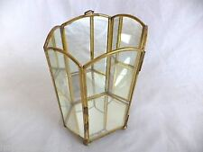 Curio Cabinet Doll Collectible Display Brass Mirror Hexagon Wall Table