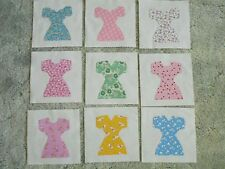 "9 House Dress Quilt Blocks 7 1/2"" x 7 1/2"" Fusible Applique Reproduction Fabric"