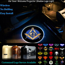2pcs Free and Accepted Masons Logo Wireless Car Door Laser Projector LED Lights