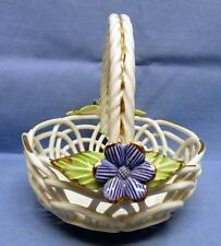 TEVISAN SPAIN HAND MADE CERAMIC CANDY BASKET W/HANDLE FLORAL & GOLD ACCENTS