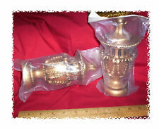 "CURTAIN FINIALS KING CROWN style ANTIQUE GOLD 7-1/2"" for 3"" POLE ROD. Sealed 2pc"