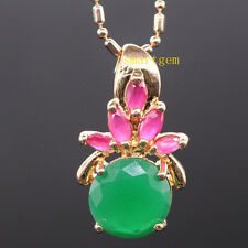 GENUINE RUBY&EMERALD&CZ SILVER GOLD PLATED PENDANT NECKLACE PN1008