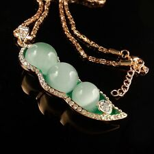Fashion Opal necklace Green beans Gold Plated mosaic Crystal Pendant EE14