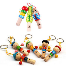 Education Toy Keychain Keyring Pendant Baby Kid Gift Pirate Whistle Wooden MGCA