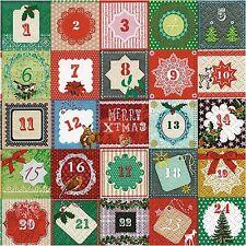 Papel de lujo única de 4 Calendario de Adviento Servilletas Para Decoupage Navidad proyectos