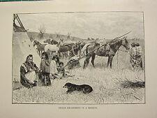 C1890 antique print ~ campement indien dans une réserve native american