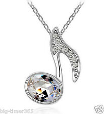 White Gold Plated Music Musical Note Pendant Necklace x SWAROVSKI CRYSTAL Clear