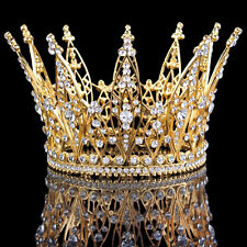 4'' Crystal Full Crown Queen Gold Diadem Bridal Wedding Tiaras Pageant Prom