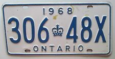 Ontario 1968 License Plate # 306-48X