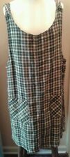 Womens Size Large JLNY Dark Gray Brown & Cream Plaid Grunge Revival Jumper Dress