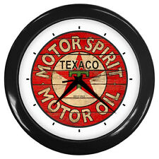 New Texaco Vintage Sign Oil and Gasoline Logo Series Black Wall Clock #1
