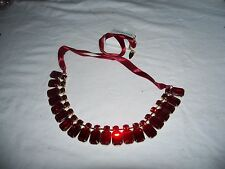 Retired New Coldwater Creek Red Ruby Sparkling Gem Stone Necklace 30 inch