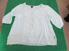 Intro 3/4 Sleeve Shirt Tunic Lace Knit Top Floral Pleated Size L Mint Green EUC