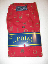POLO Ralph Lauren Mens Cotton Boxers NWT XL Red with Bits, Stirrups, Horseshoes