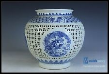 Fine Orient Chinese Beautiful Blue & White Porcelain Dragon Hollow Out Pot