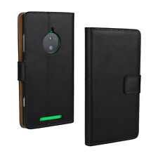 For Nokia Lumia 830 Black Genuine Leather Business Wallet Card Case Cover Stand