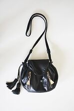 SEE BY CHLOE DOUBLE FRONT ZIP CROSSBODY BAG Black Leather Drawstring Tassel 70's