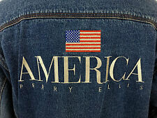 Vintage PERRY ELLIS  American Flag Logo Denim Jean Jacket sz XL