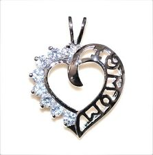 "GIFT for MOM: ""I LOVE MOM"" Heart Pendant w/ CZ Gems .925 Sterling Silver"