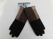 *NINE & COMPANY LADIES BROWN & BLACK SUEDE GLOVE POLYESTER LINING SIZE LARGE