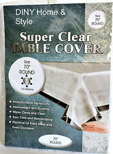 "Super Clear Table Cloth Cover Protects Fabrics 70"" Round Heavyweight & Durable"