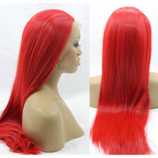 "18"" Silky Straight Red Lace Front Wig Heat Resistant"
